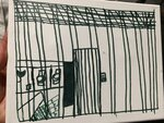 This undated photo provided by the American Academy of Pediatrics on Friday, July 5, 2019 shows a drawing by a migrant child at the Catholic Charities Humanitarian Respite Center in McAllen, Texas. The release of the pictures follows a government watchdog report warning about overcrowded South Texas facilities holding migrant families. (American Academy of Pediatrics via AP)
