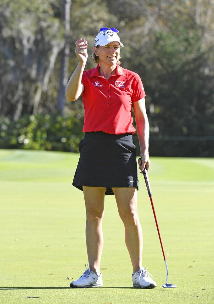 Annika Sorenstam, of Sweden, waves to fans on the putting green during the final round of the Gainbridge LPGA golf tournament Sunday, Feb. 28, 2021, in Orlando, Fla. (AP Photo/Stan Badz)