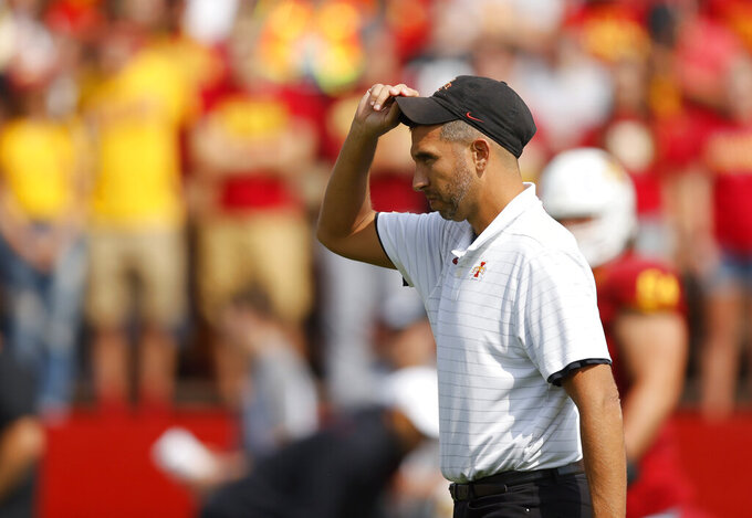 Iowa State head coach Matt Campbell watches warms up before an NCAA college football game against Northern Iowa, Saturday, Sept. 4, 2021, in Ames, Iowa. (AP Photo/Matthew Putney)
