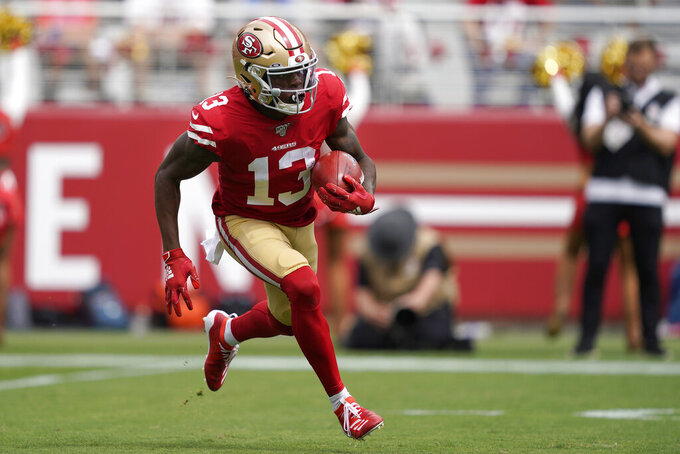 San Francisco 49ers' Richie James Jr. runs against the Pittsburgh Steelers during the first half of an NFL football game in Santa Clara, Calif., Sunday, Sept. 22, 2019. (AP Photo/Tony Avelar)