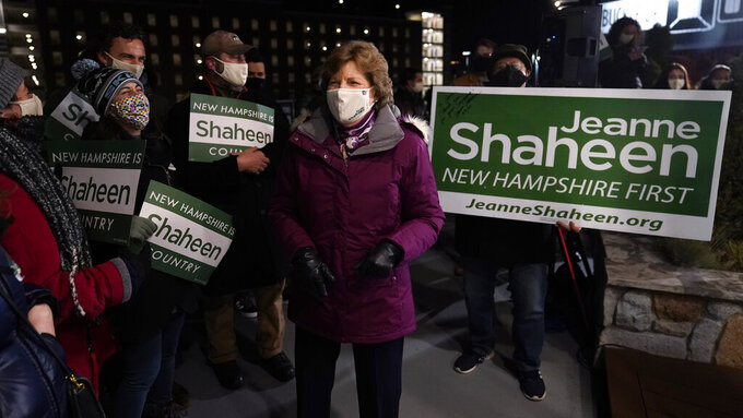 Incumbent U.S. Sen. Jeanne Shaheen, D-N.H., celebrates with supporters after claiming victory at a gathering with supporters, Tuesday, Nov. 3, 2020, in Manchester, N.H. Shaheen faced Republican businessman Corky Messner. (AP Photo/Charles Krupa)