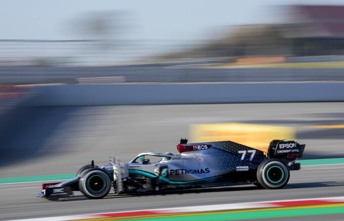 Mercedes-AMG Petronas' Valtteri Bottas drives during a Formula One pre-season testing session at the Barcelona Catalunya racetrack in Montmelo, outside Barcelona, Spain, Wednesday, Feb. 19, 2020. (AP Photo/Joan Monfort)