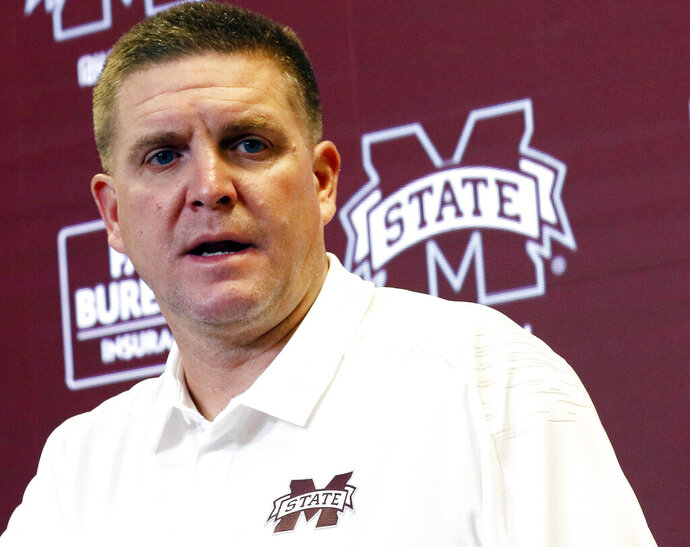 FILE - In this Aug. 11, 2018 file photo, Mississippi State football defensive coordinator Bob Shoop, talks about senior players' leadership with reporters during the Mississippi State Media Day, in Starkville, Miss. Mississippi State defensive coordinator Bob Shoop will see familiar faces Saturday, Oct. 12, 2019 when the Bulldogs visit Tennessee. Shoop was Tennessee's defensive coordinator. (AP Photo/Rogelio V. Solis, File)