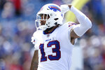 Buffalo Bills wide receiver Gabriel Davis (13) celebrates after his touchdown reception during the first half of a preseason NFL football game against the Green Bay Packers, Saturday, Aug. 28, 2021, in Orchard Park, N.Y. (AP Photo/Joshua Bessex)