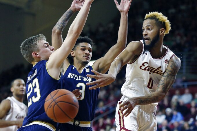 Reserve Djogo's 21 points lead Notre Dame past BC 79-73