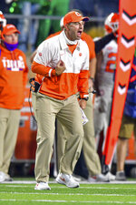 Clemson coach Dabo Swinney yells during the fourth quarter of the team's NCAA college football game against Notre Dame on Saturday, Nov. 7, 2020, in South Bend, Ind. (Matt Cashore/Pool Photo via AP)