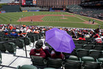A spectator shields itself from the sun with an umbrella during the second inning of a baseball game between the Baltimore Orioles and the Boston Red Sox, Sunday, July 21, 2019, in Baltimore. The National Weather Service says the