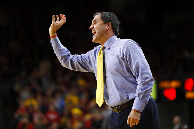 Iowa State head coach Steve Prohm directs his team during the second half of an NCAA college basketball game against Northern Illinois, Tuesday, Nov. 12, 2019, in Ames, Iowa. Iowa State won 70-52. (AP Photo/Charlie Neibergall)