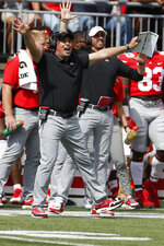 Ohio State head coach Ryan Day shouts to his players during the first half of an NCAA college football game against Oregon, Saturday, Sept. 11, 2021, in Columbus, Ohio. (AP Photo/Jay LaPrete)