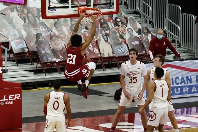 Indiana's Jerome Hunter dunks during the second half of an NCAA college basketball game against WisconsinThursday, Jan. 7, 2021, in Madison, Wis. (AP Photo/Morry Gash)