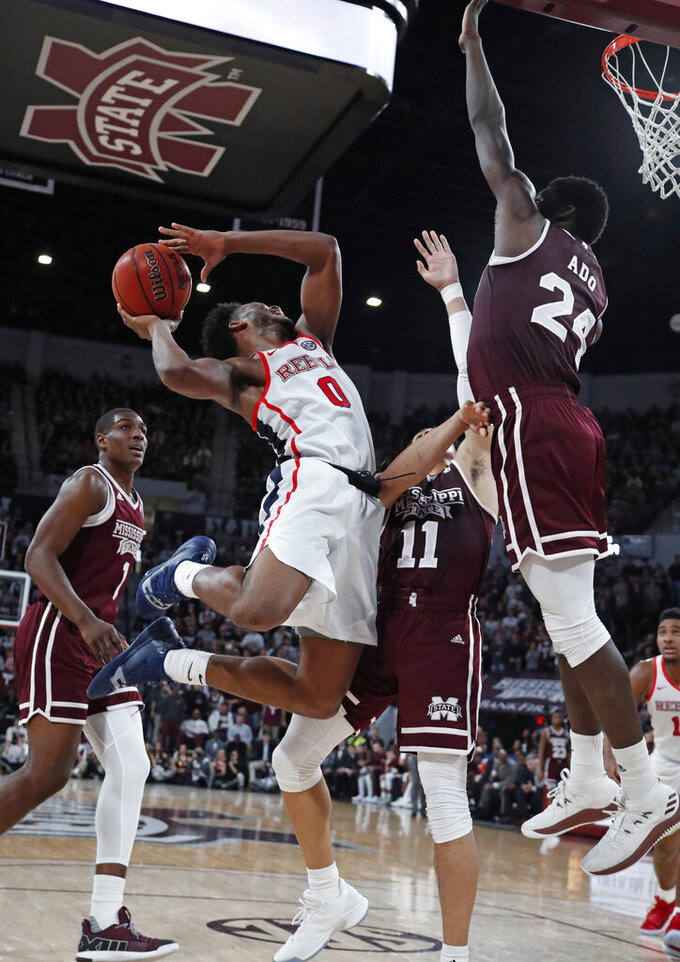 Hinson leads Ole Miss over No. 14 Mississippi St 81-77