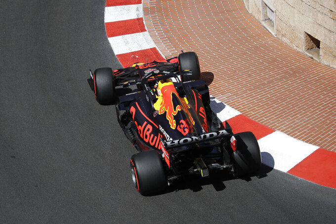 Red Bull driver Max Verstappen of the Netherlands steers his car during the second free practice for Sunday's Formula One race, at the Monaco racetrack, in Monaco, Thursday, May 20, 2021. (AP Photo/Luca Bruno)