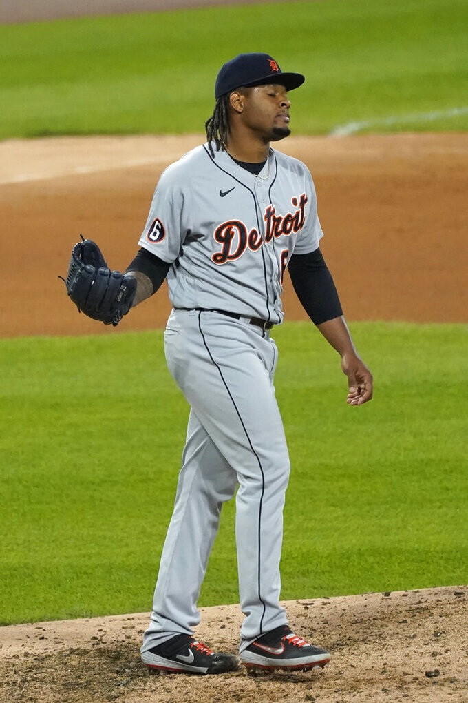 Detroit Tigers relief pitcher Gregory Soto reacts after Chicago White Sox's Jose Abreu hit a solo home run during the eighth inning of a baseball game in Chicago, Wednesday, Aug. 19, 2020. (AP Photo/Nam Y. Huh)