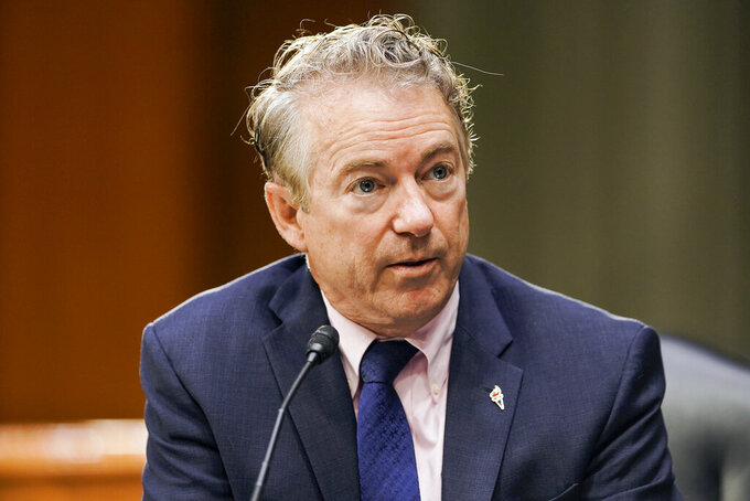 FILE - In this March 23, 2021 file photo, Sen. Rand Paul, R-Ky., speaks during a a Senate Foreign Relations Committee hearing on Capitol Hill in Washington. Democrat Charles Booker, whose unabashedly progressive campaign in Kentucky came up just short in last year's Senate primary, said Monday April 12 he's forming an exploratory committee as he weighs a follow-up Senate race in 2022 against Paul.  (Greg Nash/Pool via AP, File)