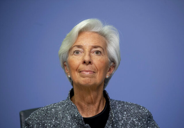 President of European Central Bank Christine Lagarde looks up prior to a press conference following a meeting of the ECB governing council in Frankfurt, Germany, Thursday, March 12, 2020. (AP Photo/Michael Probst)
