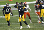 Pittsburgh Steelers quarterback Ben Roethlisberger (7) throws a pass during the second half of an NFL wild-card playoff football game against the Cleveland Browns in Pittsburgh, late Sunday, Jan. 10, 2021. (AP Photo/Don Wright)