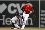 New York Yankees' Aaron Judge, left, is forced out at second base as Boston Red Sox's Michael Chavis watches after turning the double play on Gary Sanchez during the sixth inning of a baseball game, Saturday, June 26, 2021, in Boston. (AP Photo/Michael Dwyer)