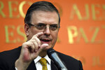 Mexican ​Foreign Minister Marcelo Ebrard speaks during a news conference at the Embassy of Mexico in Washington, Tuesday, Sept. 10, 2019. (AP Photo/Susan Walsh)
