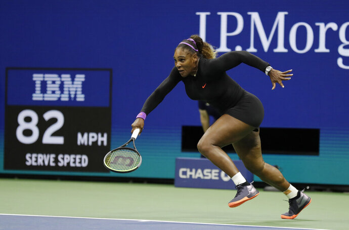 Serena Williams, of the United States, chases down a shot from Elina Svitolina, of Ukraine, during the semifinals of the U.S. Open tennis championships Thursday, Sept. 5, 2019, in New York. (AP Photo/Adam Hunger)