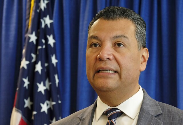 FILE - In this Nov. 2, 2018, file photo, California Secretary of State Alex Padilla speaks in San Francisco. Election Day is over but California already is consumed with its next high-profile political contest the competition to fill Kamala Harris' soon-to-be-vacant U.S. Senate seat. Padilla is one of a group of people being considered as one of the candidates for the Senate pick. (AP Photo/Eric Risberg, File)