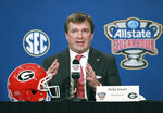 Georgia head coach Kirby Smart takes questions during his Sugar Bowl press conference for the game against Texas, in New Orleans, on Monday, Dec 31, 2018. No. 14 Texas will try to cap an impressive season when it faces No. 6 Georgia in the Sugar Bowl on Tuesday night, Jan. 1, 2019. (Curtis Compton/Atlanta Journal-Constitution via AP)