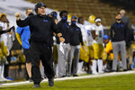UCLA head coach Chip Kelly argues for a call in the second half of an NCAA college football game against Colorado, Saturday, Nov. 7, 2020, in Boulder, Colo. (AP Photo/David Zalubowski)