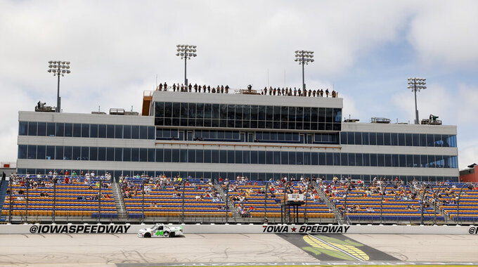 Ross Chastain competes during a NASCAR Truck Series auto race, Sunday, June 16, 2019, at Iowa Speedway in Newton, Iowa. (AP Photo/Charlie Neibergall)
