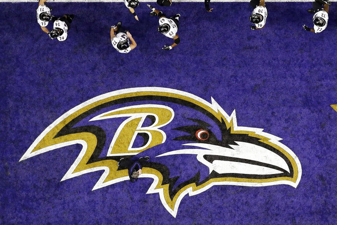 FILE - The Baltimore Ravens walk past the team logo in the end zone during warmups for the NFL Super Bowl XLVII football game against the San Francisco 49ers in New Orleans, in this Sunday, Feb. 3, 2013, file photo. The Baltimore Ravens were fined $250,000 by the NFL for violating COVID-19 protocols, a person with direct knowledge of the punishment told The Associated Press on Monday, Dec. 28, 2020. (AP Photo/David J. Phillip, File)