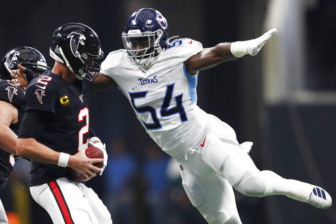 Tennessee Titans inside linebacker Rashaan Evans (54) prepares to sack Atlanta Falcons quarterback Matt Ryan (2) during the second half of an NFL football game, Sunday, Sept. 29, 2019, in Atlanta. The Tennessee Titans won 24-10. (AP Photo/John Bazemore)