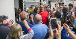 In this March 8, 2019 photo, Sen. Kamala  Harris, meets with supporters at Big Mike's Soul Food, in Myrtle Beach, S.C. Democrats' road back to the White House runs through the Republican-run South, and not just in the early nominating state of South Carolina. (Jason Lee/The Sun News via AP)