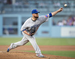 Chicago Cubs starting pitcher Jon Lester throws during the first inning of the team's baseball game against the Los Angeles Dodgers in Los Angeles, Thursday, June 13, 2019. (AP Photo/Kyusung Gong)
