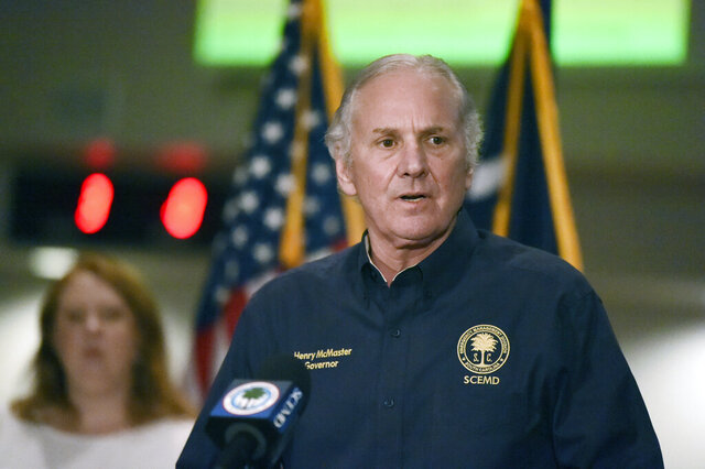 South Carolina Gov. Henry McMaster speaks to reporters during a briefing on severe weather and the new coronavirus outbreak on Monday, April 13, 2020, in West Columbia, S.C. (AP Photo/Meg Kinnard)