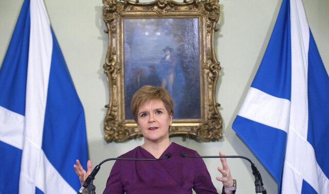 Scotland's First Minister Nicola Sturgeon sets out the case for a second referendum on Scottish independence, during a statement at Bute House in Edinburgh, Thursday, Dec. 19, 2019. (Neil Hanna/PA via AP)