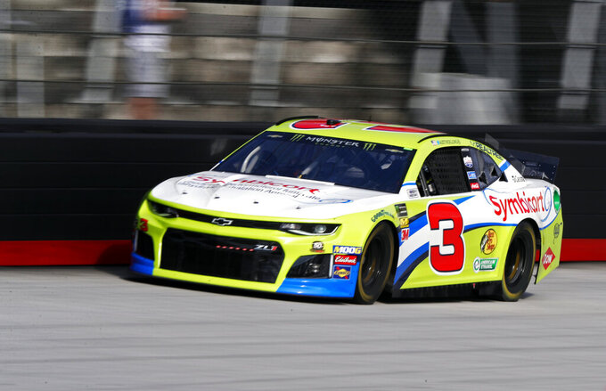 Driver Austin Dillon (3) makes his way down the back stretch during practice for a NASCAR Cup Series auto race, Saturday, April 6, 2019, in Bristol, Tenn. (AP Photo/Wade Payne)