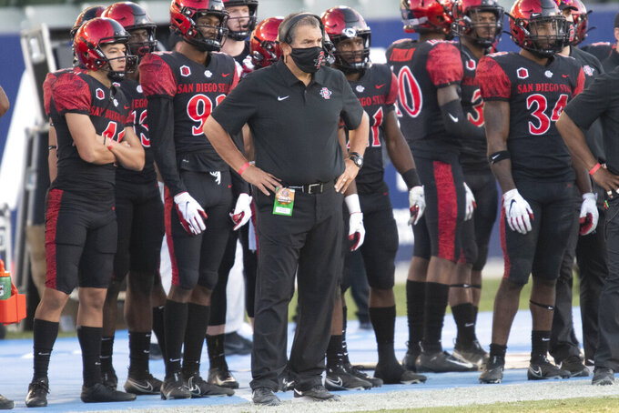 San Diego State head coach Brady Hoke watches his players during the second half of an NCAA college football game against Hawaii Saturday, Nov. 14, 2020, in Carson, Calif. (AP Photo/Kyusung Gong)