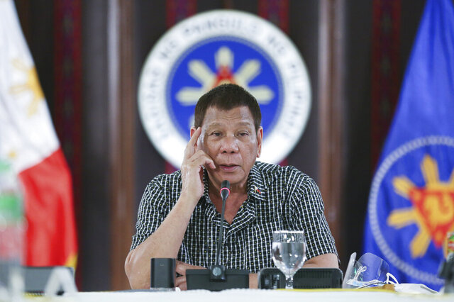 In this photo provided by the Malacanang Presidential Photographers Division, Philippine President Rodrigo Duterte speaks at the Malacanang presidential palace in Manila, Philippines on Thursday Oct. 8, 2020. The Philippine president warned Thursday he will intercede and resolve a leadership row in the House of Representatives if the impasse threatens to stall the passage of next year's budget during the coronavirus crisis. (Albert Alcain/Malacanang Presidential Photographers Division via AP)