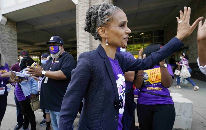 FILE - This Thursday May 20, 2021, file photo, shows New York City mayoral candidate Maya Wiley, as she campaigns and meets with health care workers outside New York-Presbyterian Morgan Stanley Children's Hospital in New York. Candidates in New York City's heavily contested Democratic mayoral primary urged people to go to the polls in the coming days as early voting kicked off today. (AP Photo/Kathy Willens, File)