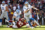 Detroit Lions quarterback Jeff Driskel (2) scrambles against the Washington Redskins during the first half of an NFL football game, Sunday, Nov. 24, 2019, in Landover, Md. (AP Photo/Alex Brandon)