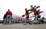 Boston Red Sox pitchers and catchers report for their first workout at their spring training baseball facility in Ft. Myers, Fla., Wednesday, Feb. 13, 2019. (AP Photo/Gerald Herbert)