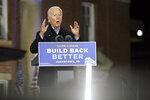 Democratic presidential candidate former Vice President Joe Biden speaks at the Amtrak Johnstown Train Station, Wednesday, Sept. 30, 2020, in Johnstown, Pa. (AP Photo/Andrew Harnik)
