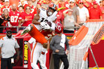 Kansas City Chiefs safety Juan Thornhill breaks up a pass intended for Cleveland Browns wide receiver Anthony Schwartz, left, during the second half of an NFL football game Sunday, Sept. 12, 2021, in Kansas City, Mo. (AP Photo/Ed Zurga)