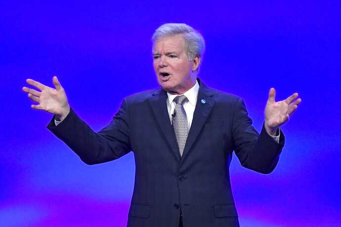 NCAA President Mark Emmert speaks at the NCAA convention Thursday, Jan. 23, 2020, in Anaheim, Calif. (AP Photo/Mark J. Terrill)