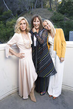 """Knots Landing"" co-stars Donna Mills, from left, Michele Lee and Joan Van Ark pose for a portrait during the Jose Iturbi Foundation's reception preceding a concert celebrating conductor Gustavo Dudamel's 10th anniversary with LA Philharmonic at the Hollywood Bowl on Thursday, July 18, 2019, in Los Angeles. Long-running nighttime soap ""Knots Landing"" marks its 40th anniversary in December. (Photo by Mark Von Holden/Invision/AP)"