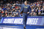 North Dakota State coach David Richman gestures during the first half of the team's First Four game of the NCAA men's college basketball tournament against North Carolina Central, Wednesday, March 20, 2019, in Dayton, Ohio. (AP Photo/John Minchillo)