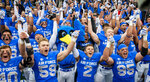 Air Force players celebrate their 35-7 win over Navy in an NCAA college football game at Falcon Stadium at the U.S. Air Force Academy, Saturday Oct. 6, 2018, in Colorado Springs, Colo.  (Dougal Brownlie,/The Gazette via AP)