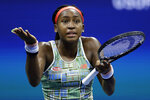 Coco Gauff, of the United States, reacts during her match against Naomi Osaka, of Japan, during the third round of the U.S. Open tennis tournament Saturday, Aug. 31, 2019, in New York. (AP Photo/Adam Hunger)