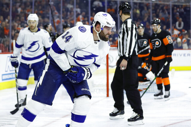 Tampa Bay Lightning's Pat Maroon skates off the ice after an injury during the third period of an NHL hockey game against the Philadelphia Flyers, Saturday, Jan. 11, 2020, in Philadelphia. (AP Photo/Matt Slocum)