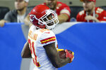 Kansas City Chiefs defensive back Bashaud Breeland crosses into the end zone, after recovering a fumble, for a 100-yard touchdown run during the second half of an NFL football game, Sunday, Sept. 29, 2019, in Detroit. (AP Photo/Duane Burleson)