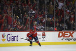 Washington Capitals left wing Alex Ovechkin (8), of Russia, celebrates his goal during the first period of an NHL hockey game against the St. Louis Blues, Monday, Jan. 14, 2019, in Washington. (AP Photo/Nick Wass)
