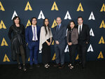 Jennifer Yuh Nelson, Academy Short Films and Feature Animation Branch Governor and Nicholl Fellowships in Screenwriting Committee Chair, third from left, poses with Nicholl fellows, from left to right, Karen McDermott, Aaron Chung, Walker McKnight, Renee Pillai and Sean Malcolm at the Academy Nicholl Fellowships in Screenwriting Awards and Live Read at the Academy of Motion Picture Arts and Sciences Samuel Goldwyn Theater, Thursday, Nov. 7, 2019, in Beverly Hills, Calif. (Photo by Danny Moloshok/Invision/AP)